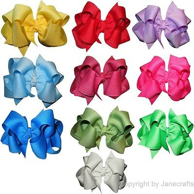 "10pcs 4"" Girl Baby Toddler Layered Boutique Chunky Hair Bow Clip Mix in 10 Color"