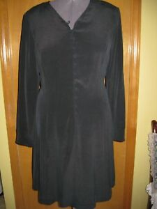 Womens Due Per Due Veste Long Sleeve Black Silk Dress