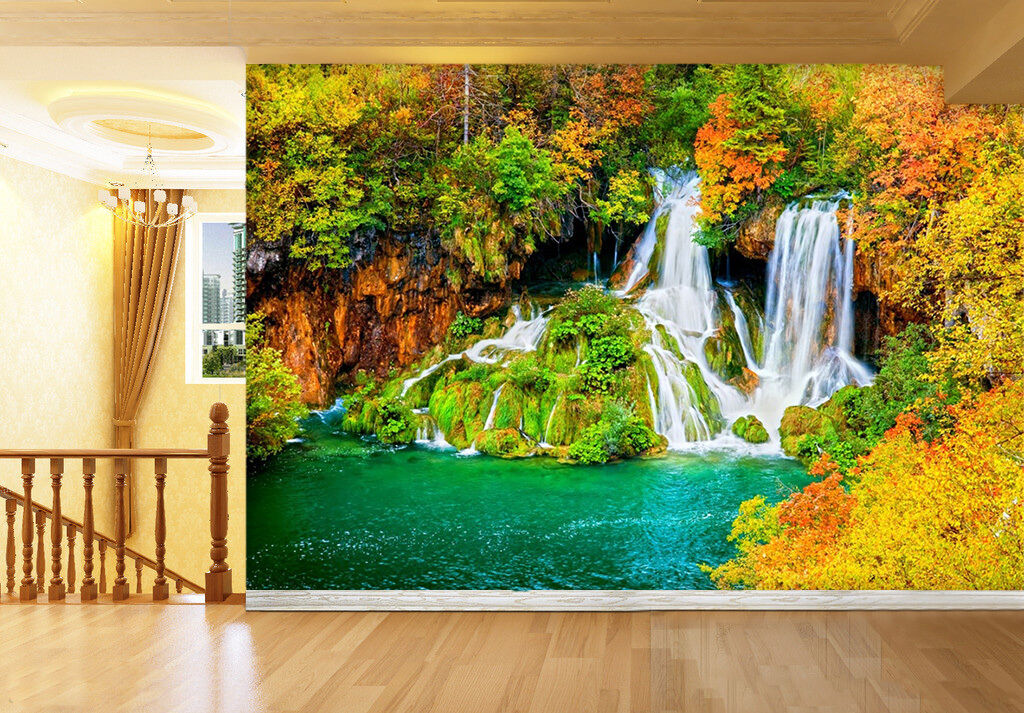 3D Leaf Waterfall Wall Paper wall Print Decal Wall Deco Indoor wall Mural