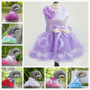 Luxury-Various-Pet-Puppy-Small-Dog-Cat-Lace-Party-Dress-Apparel-Clothes-50-Types