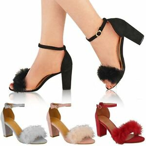 ea06ca9e2c7 Womens Ladies Faux Fur Fluffy Low Wedge Heel Sandals Strappy Party ...