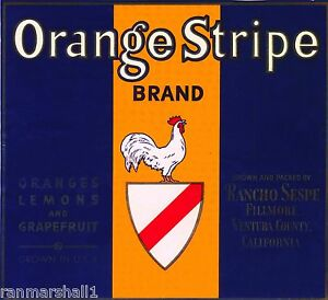 Fillmore Ventura County California Alamo Orange Citrus Fruit Crate Label Print