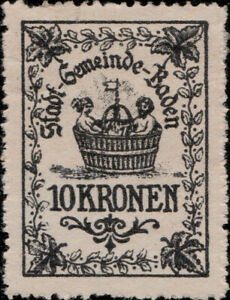 AUTRICHE-AUSTRIA-OSTERREICH-Stadt-Gemeinde-Baden-10-KRONEN-Revenue-Stamp