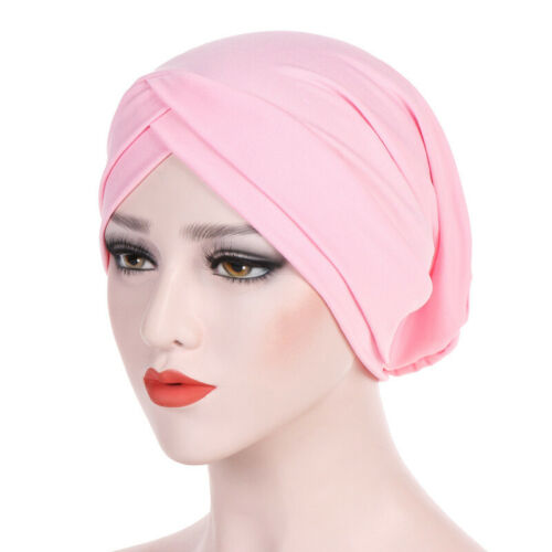 Damen Muslim Criss Cross Kappe Bonnet Hijab Turban Hüte Mütze Stirnband Headwrap