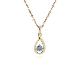 Gemondo 9ct Yellow Gold Aquamarine Single Stone Tear Drop 45cm Necklace