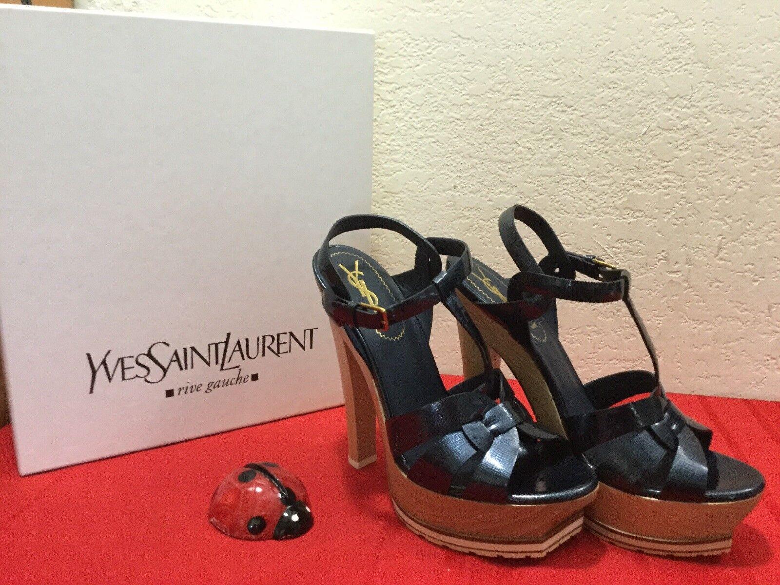 YSL Tribute Platform High Heel Paille Paille Paille Patent Sandals Pasific Navy bluee Sz 6.5 37 b84032