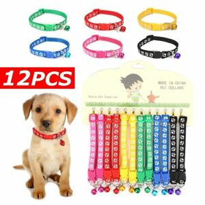 US-12PCS-Lot-Dog-Collars-Pet-Cat-Puppy-Buckle-Belt-Strap-Nylon-Collar-Bell