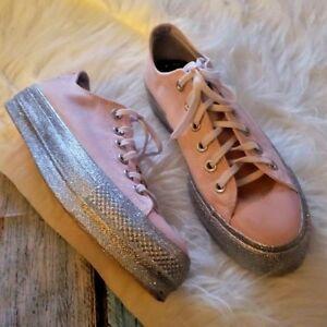 1b4397f1227b Converse Miley Cyrus Chuck Taylor Pink Glitter Silver Platform Shoe ...