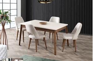 Dettagli su Tavolo Ekol allungabile con quattro sedie Design moderno sala  da pranzo cucina