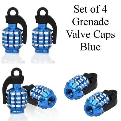 Dust Caps Universal Fit Silver Hand grenade Style Valve Caps Set of 4