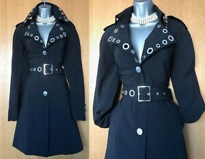 Karen-Millen-UK-10-Black-Collared-Long-Blazer-Jacket-Mac-Trench-Raincoat-EU-38