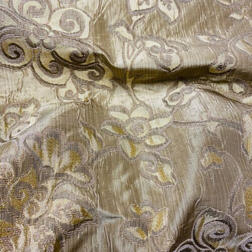 Stunning Satin Look Golden Floral Curtain Fabric// Material New BR196