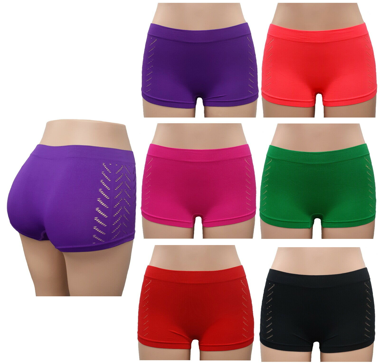6 Seamless Boyshorts Womens Underwear Lot Booty Panties Boxer Brief Spandex New