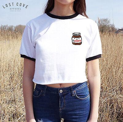 * Pocket Nutella Crop Ringer Tee Top Cropped Shirt Cute Japanese Love Grunge *
