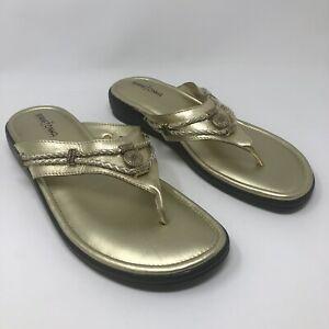 Minnetonka Size 12 WW Gold Flip Flop