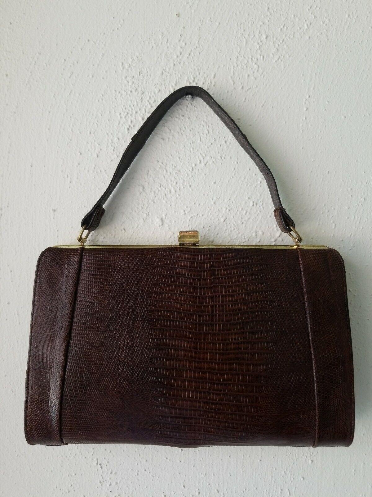 Vintage Brown Embossed Leather Hard Case Handbag Purse