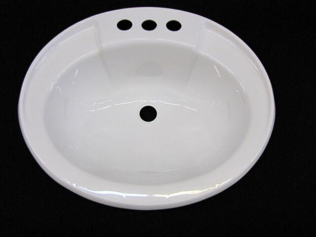 Mobile Home RV Marine Parts Bathroom Lav Sink White Hardware/Drain assembly inc