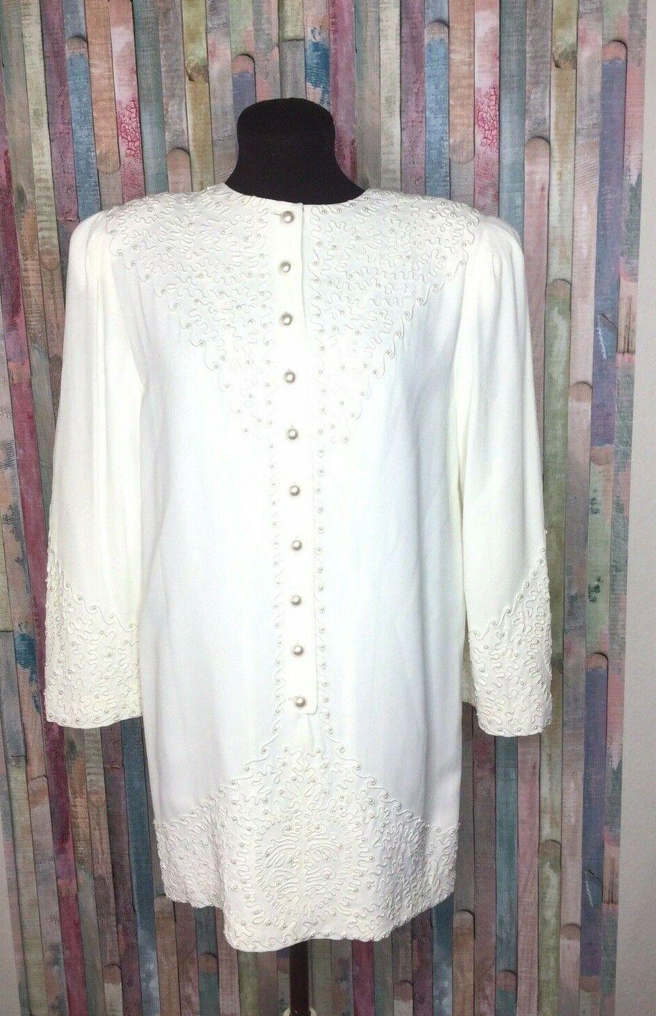Marie St Claire dress blouse Vintage Sz 6 Pearl B… - image 2