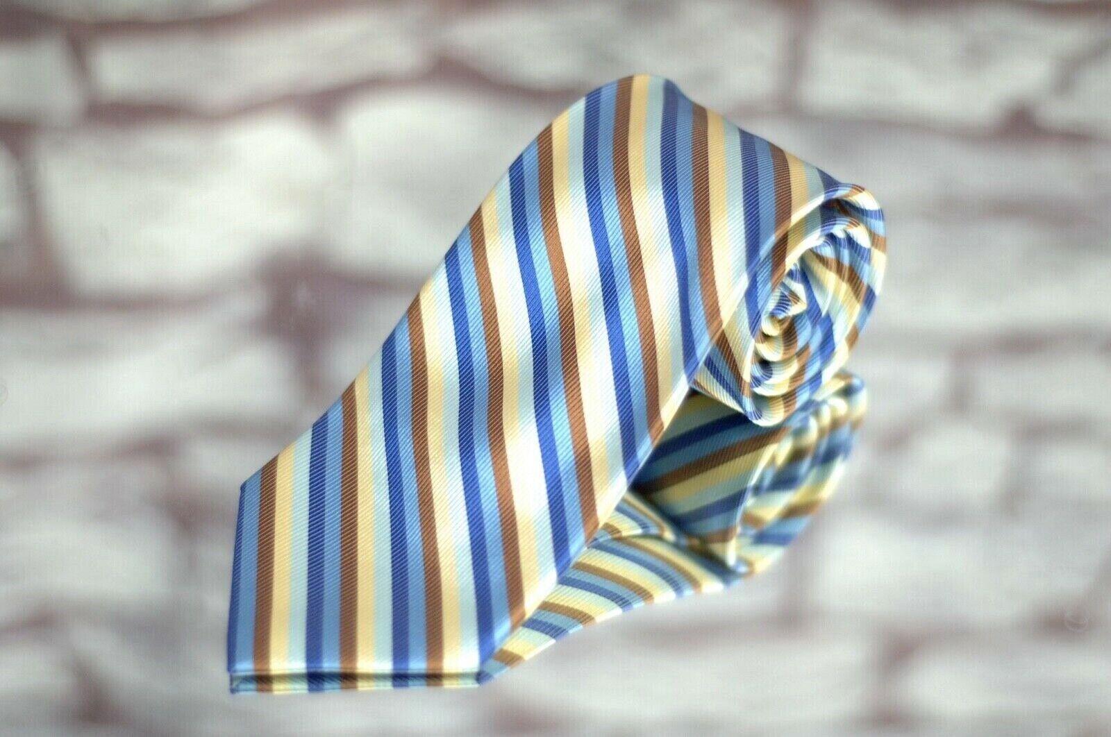 Jos. A.Bank Herren Unterschrift Krawatte Gelb Blau Braune Streifen Gewebt Seide