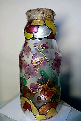 UKRAINE HOMEMADE DECOR BOTTLE. HADMADE STAINED GLASS
