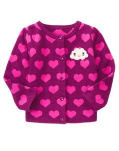 GYMBOREE BUNDLED /& BRIGHT MAGENTA HEARTS N CLOUD SWEATER 6 12 18 24 2 3 4 5 NWT