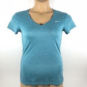 Details about Nike Dri Fit V Neck Active T-Shirt Blue Women's XS