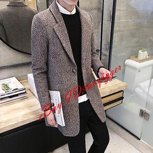 Men-039-s-2-Buttons-Wool-Blend-Trench-Long-Coat-Slim-Fit-Jacket-Lapel-Suits-Fashion