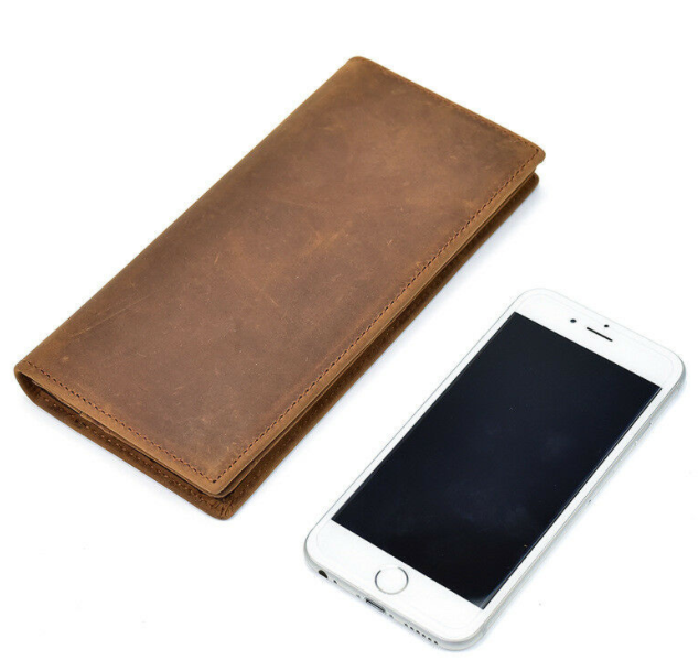 New Men Genuine Leather RFID Bifold Long Wallet Holder chocolate Black