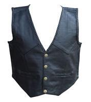 Brand New Kids Boys/Girls Real Leather Black Braided Biker Style Waistcoat/Vest