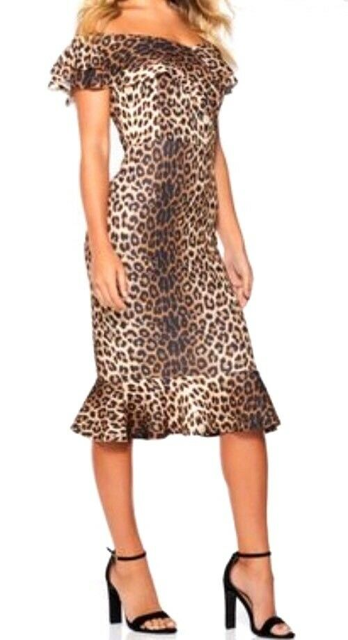 480db0d92bc1 Women's Quiz Leopard Print Bardot Frill Hem Dress Size UK 16 for ...