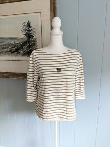 Saint-James-WOMEN-039-S-XL-Crema-tan-Mezze-maniche-T-shirt-girocollo-nautico-NAUTICA