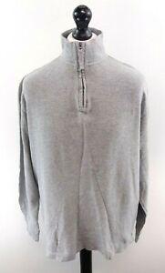 CHAPS-RALPH-LAUREN-Mens-Jumper-Sweater-L-Large-Grey-Cotton-1-4-Zip-Loose-Fit