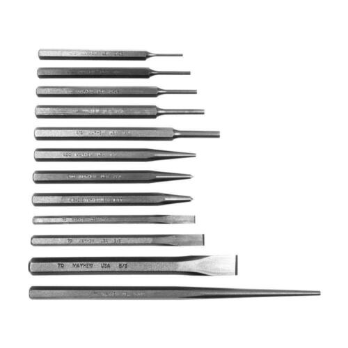 Punch and Chisel Set Heat Treated and Tempered Hand Tool in Gray 12-Piece