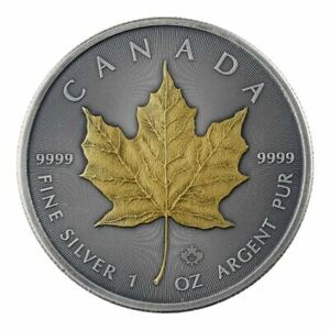 2019-Maple-Leaf-1oz-9999-Silver-Coin-Antique-Gold-Edition