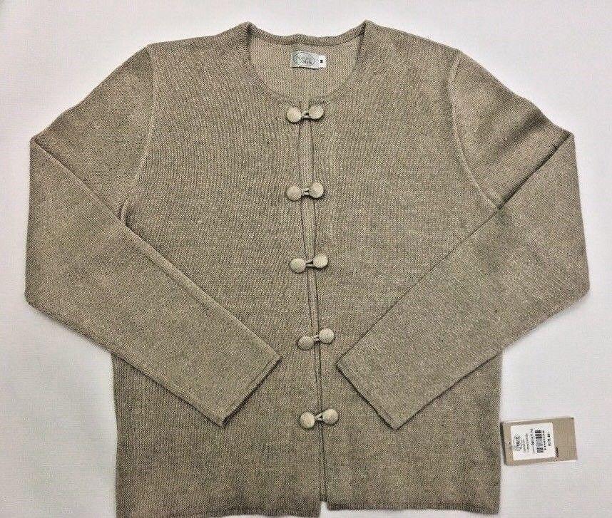 Natural Style Womens Beige Cardigan Linen Cotton Horveit Sz M