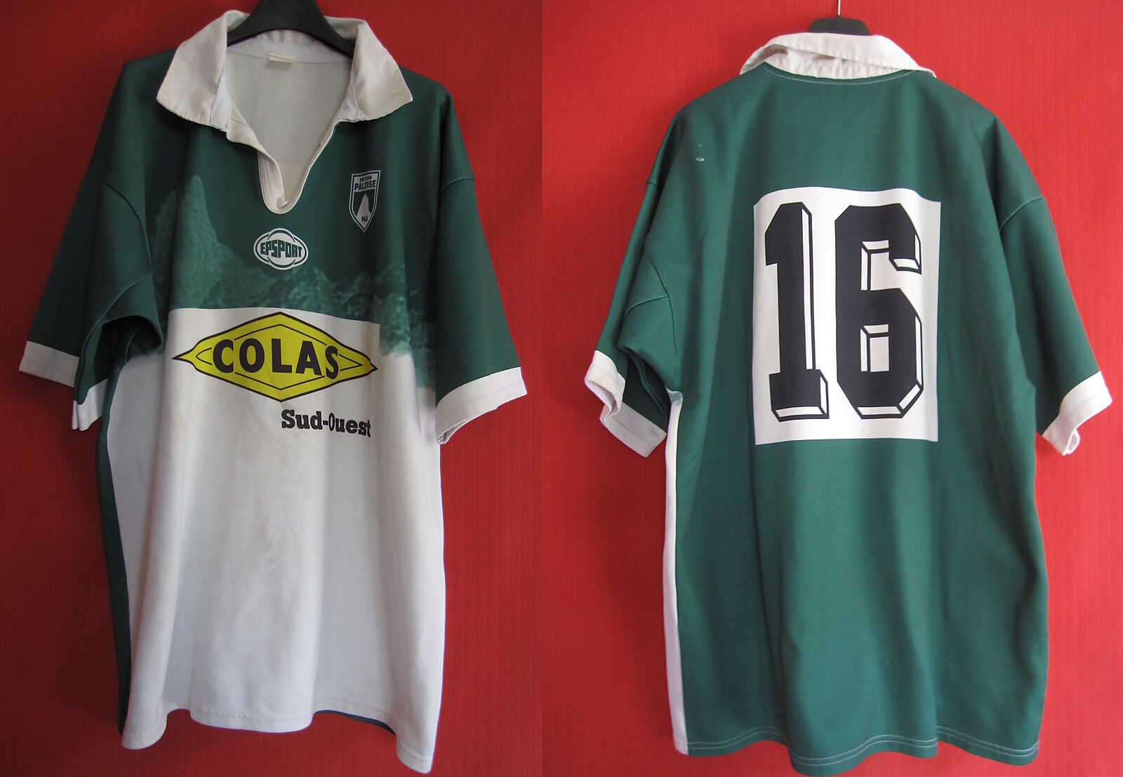 Rugby shirt section paloise sp pau epsport worn nº 16 colas sud ouest-xxl