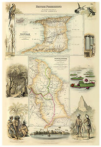 Trinidad-Caribbean-British-Guiana-illustrated-map-Fullarton-ca-1872