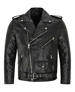 Mens-Brando-Leather-Jacket-Motorcycle-Perfecto-Black-Cowhide-Marlon-Biker-Jacket