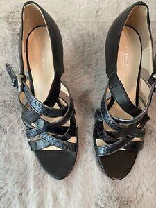 Coach-Evie-Women-s-Black-Leather-Strappy-Open-Toe-Heels-Size-7