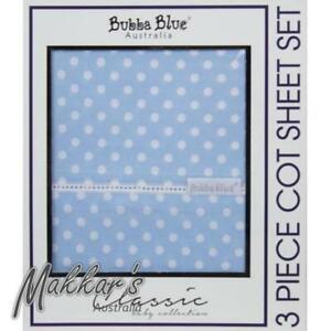 Bubba-Blue-Polka-Dots-3-Piece-Cot-Sheet-Set-Blue