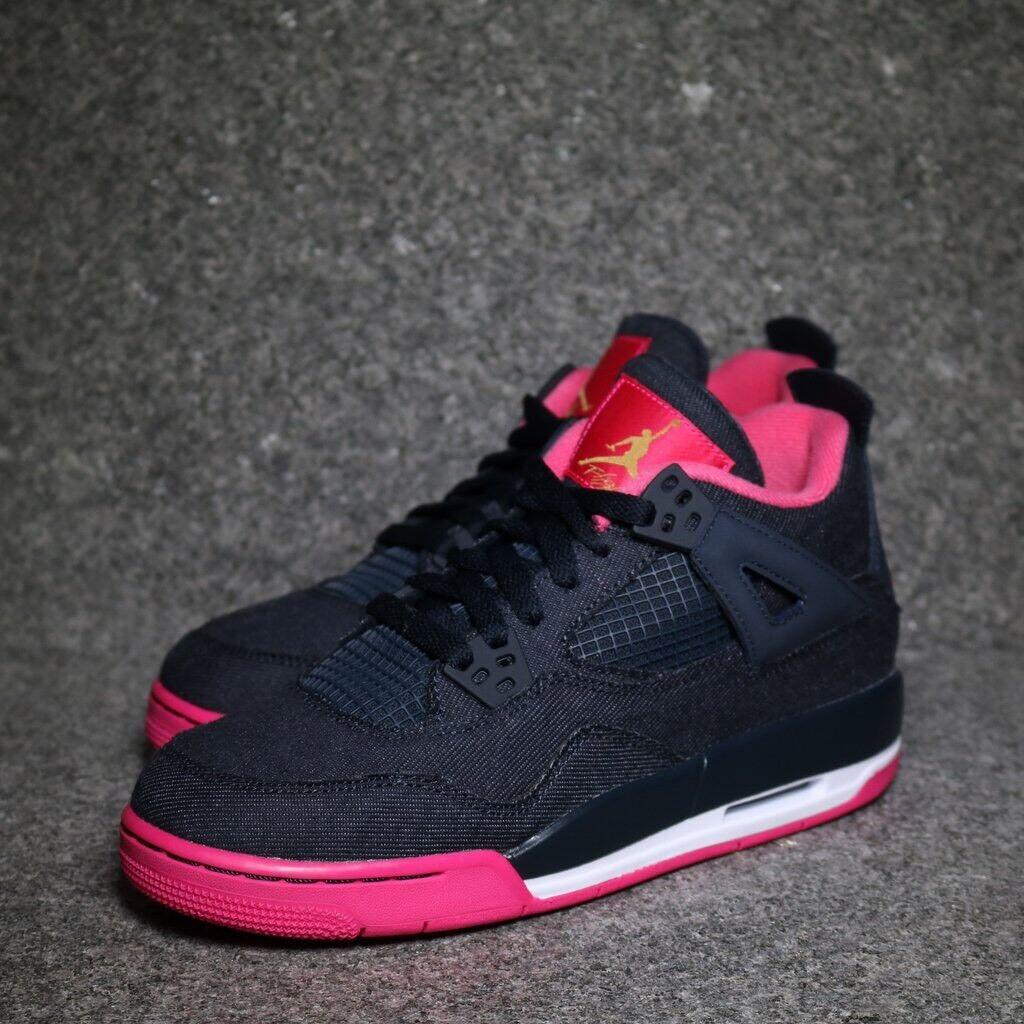 Nike Air Jordan 4 Retro GG DENIM bleu taille 6 Vivid Rose Baskets QS 487724 408