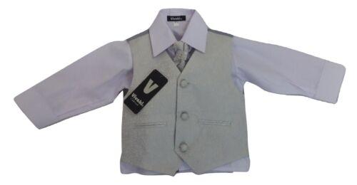 grey wedding waistcoat suit Baby infant boy Vivaki 4 piece silver