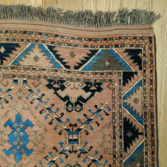 Turkish Rug 5' 1 x 6' 11 Tribal Brown Blue