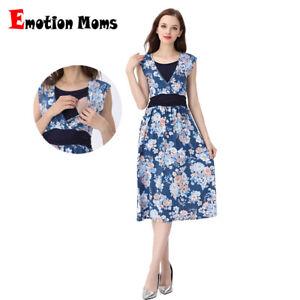 Women Floral Maternity Breastfeeding Long Sleeve Skater Swing Nursing Mini Dress