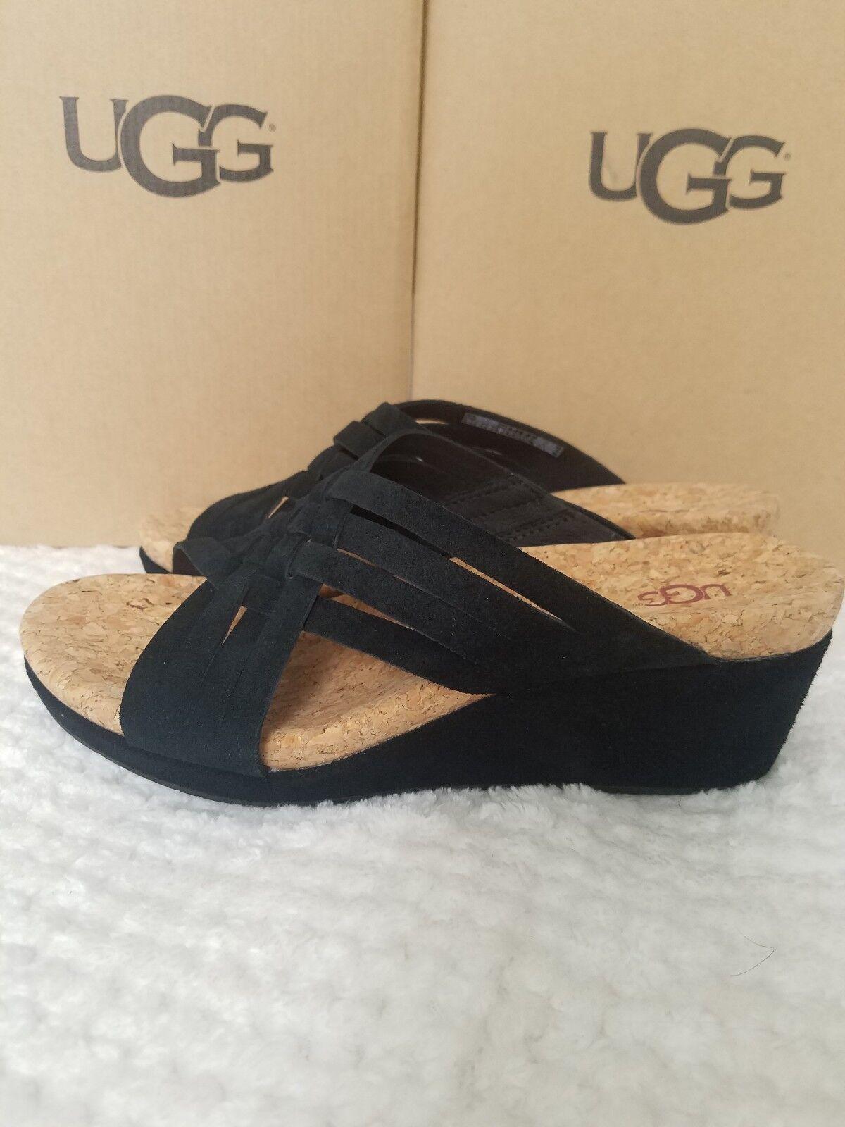 purpleh Suede Platform Wedge Sandals black Size 9