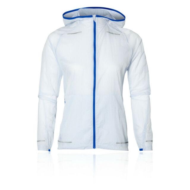 Asics Womens Lite-Show Running Jacket Top Blue Sports Full Zip Water Resistant