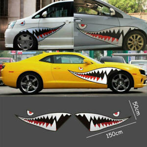 Pair-59-039-039-Shark-Mouth-Tooth-Teeth-Sticker-Vinyl-Exterior-Decal-For-Car-Side-Door