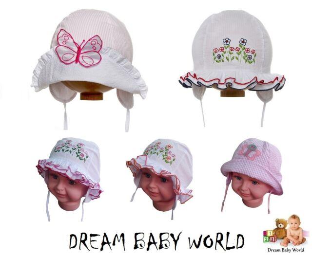 BABY GIRLS cotton sun bonnet - hat NEW spring / summer - size 6 - 24 months GIRL