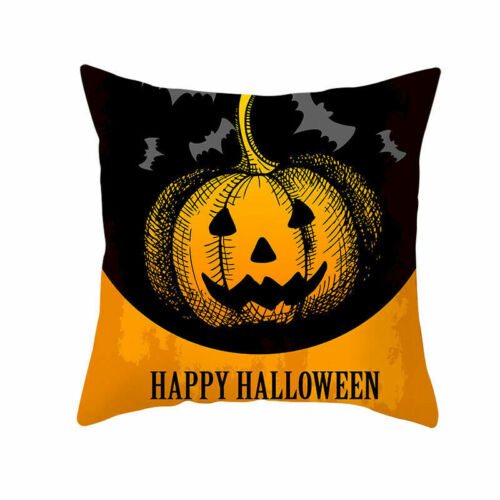 Halloween Pillow Case Pumpkin Ghost Pattern Waist Throw Cushion Cover Sofa Decor