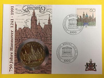 Obligatorisch Nu21) Numisbrief Mit Medaille 750 Jahre Hannover 1241-1991